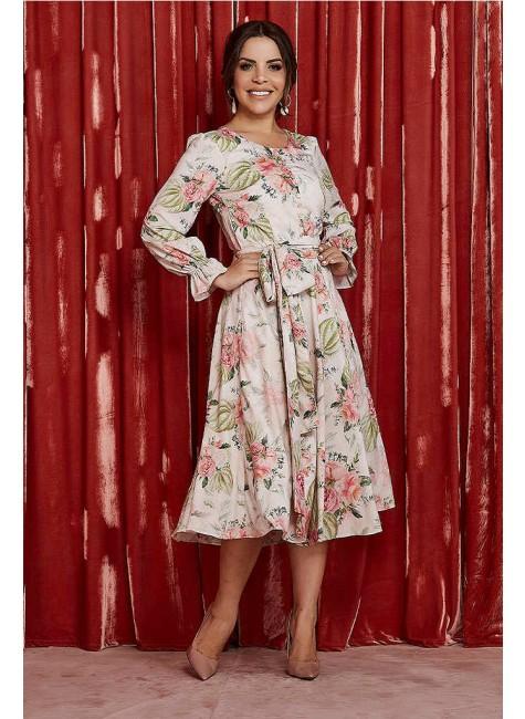 vestido ana gabriely estampa exclusiva jany pim frente