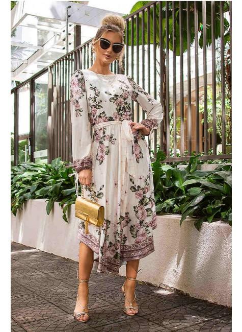 vestido jessica midi estampa exclusiva jany pim frente