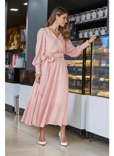 vestido ana gabriely max midi cor rosa jany pim frente