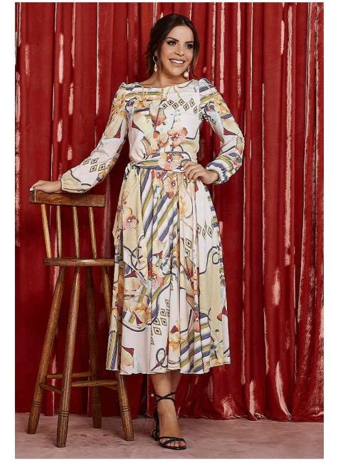 vestido rebeca estampa exclusiva frente