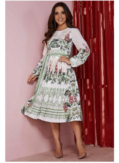 vestido lorayne estampado mangas longas plissado jany pim frente