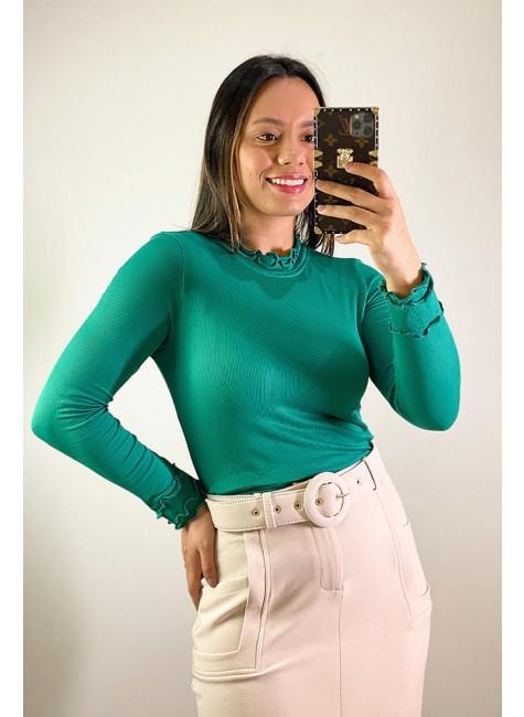 blusa amanda manga longa jany pim verde