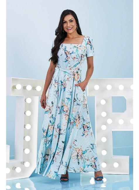 vestido bianca max midi estampado azul claro jany pim frente